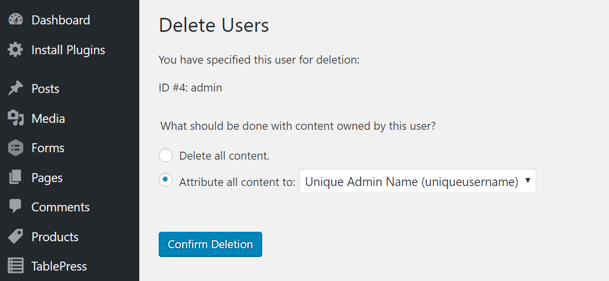 delete-admin-attribute-all-content-to WebHostingPeople