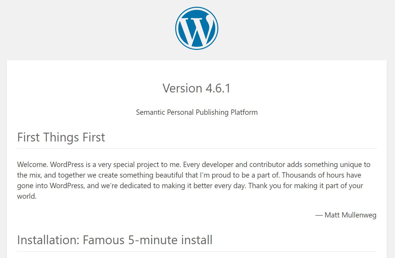 wordpress-version-readme