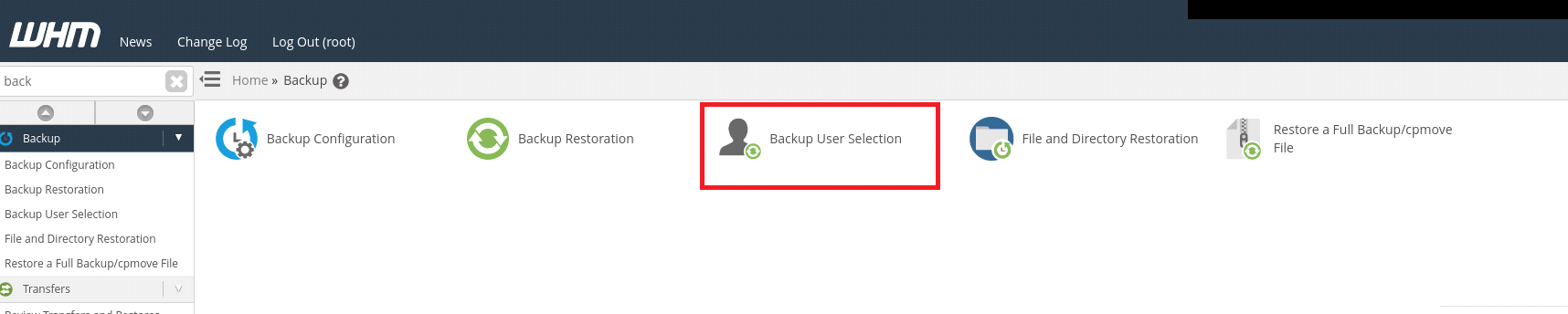 New cPanel feature - Backup User Selection