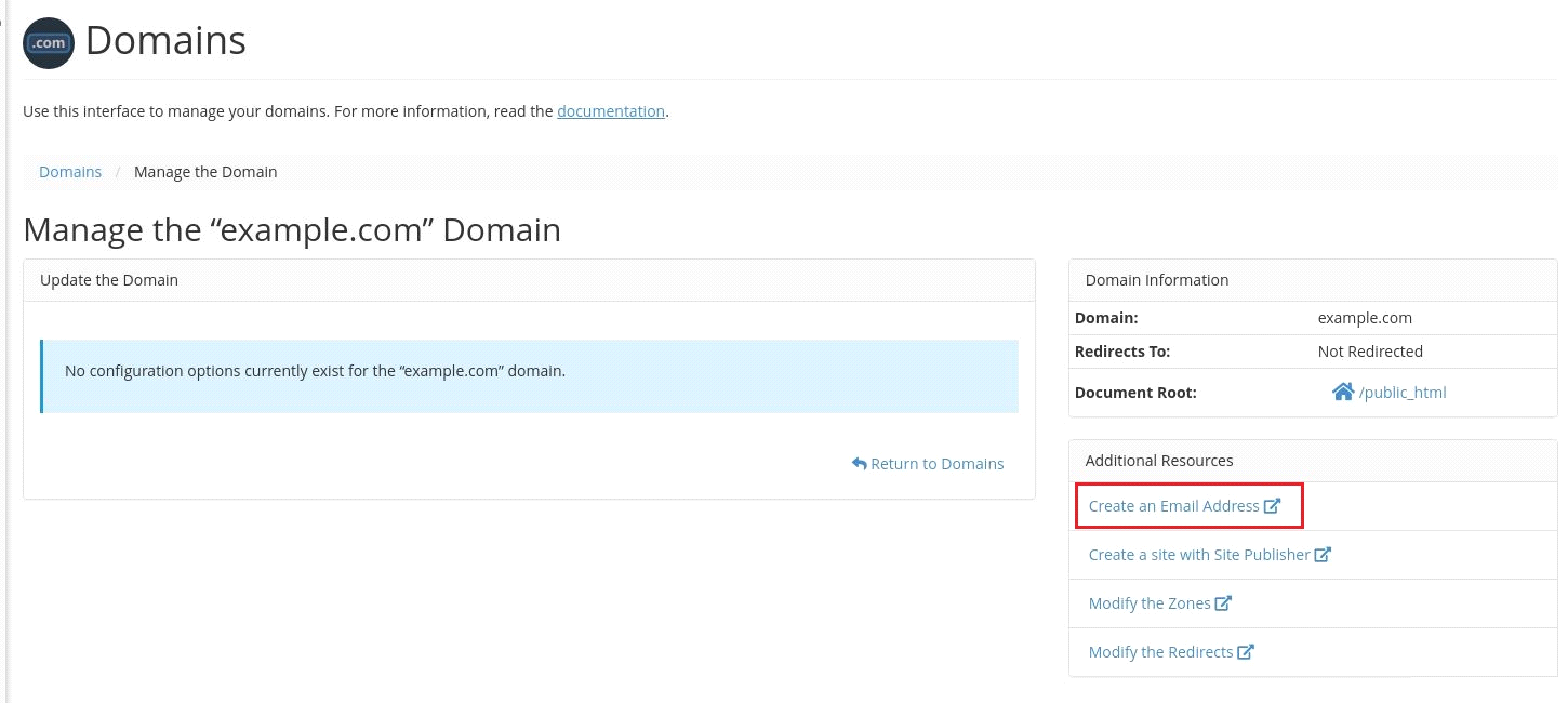 Domains in cPanel