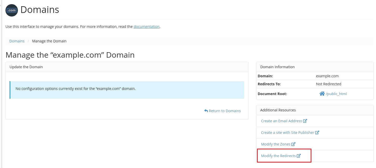 Domains in cPanel, new feature