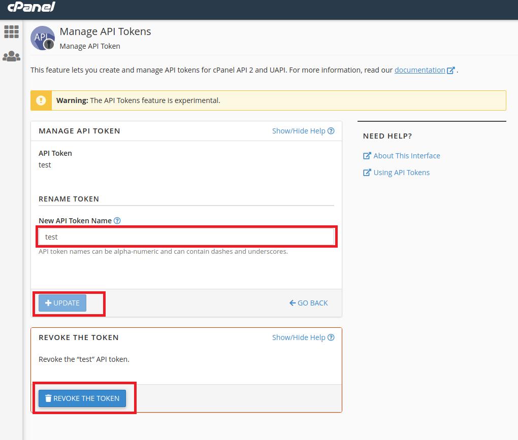 Manage API Token