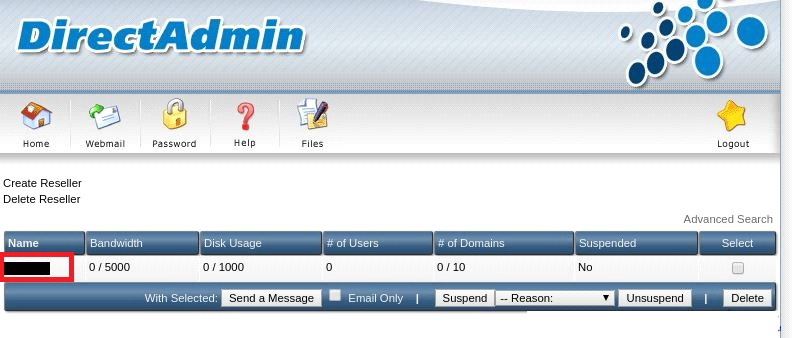 Add reseller account
