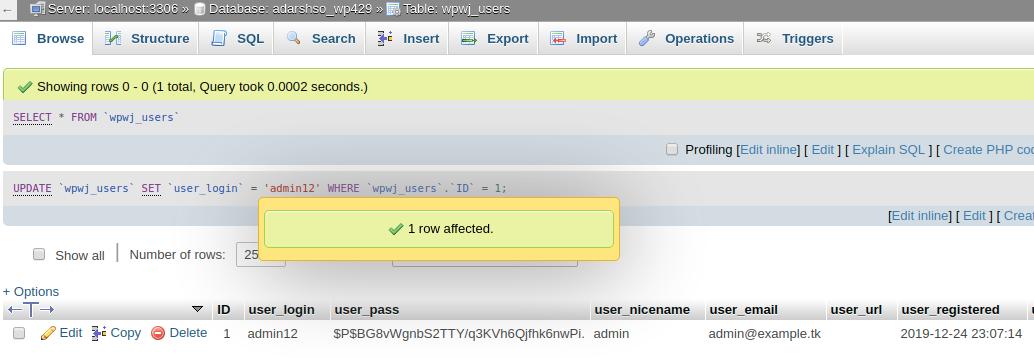 Change WordPress username using PHPMyAdmin - Step 4