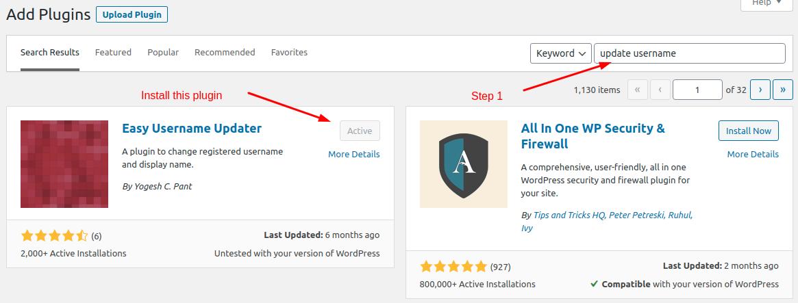 Change WordPress username using a plugin - Step 1