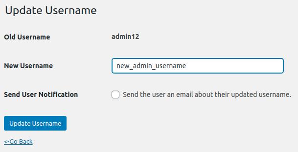 Update username form