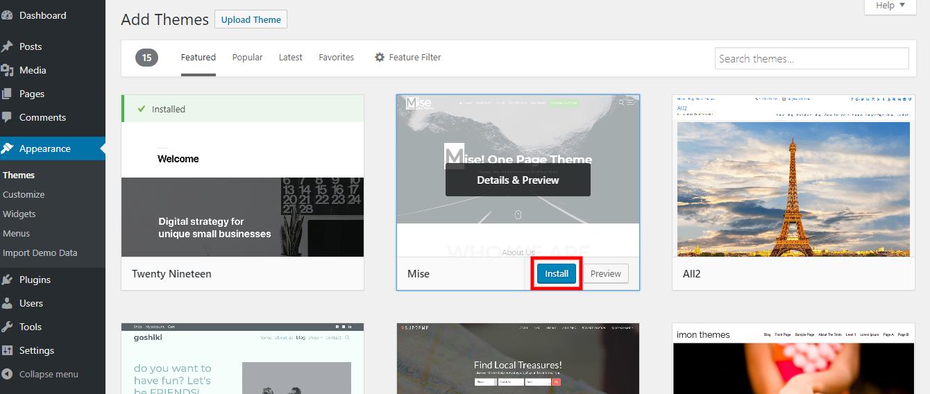 Create Business Website. Mise Theme