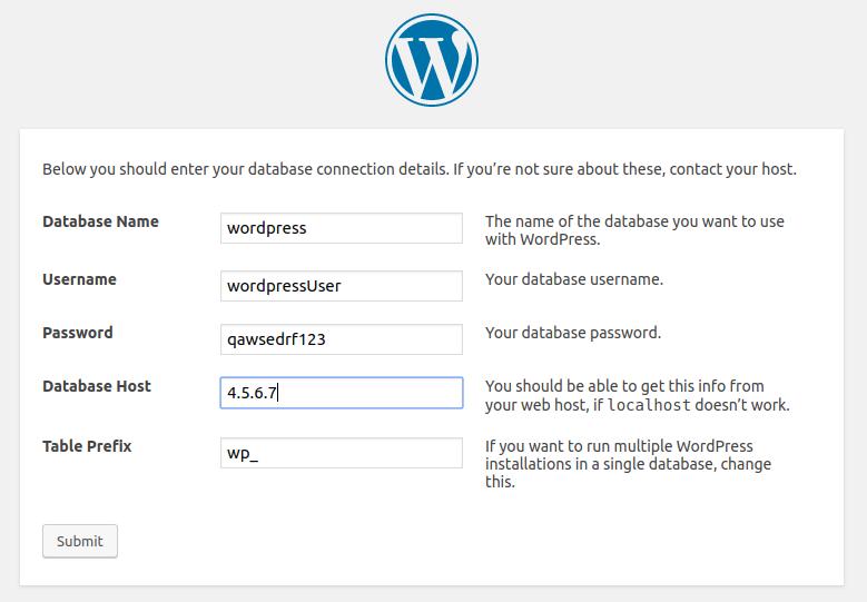 WordPress with external database