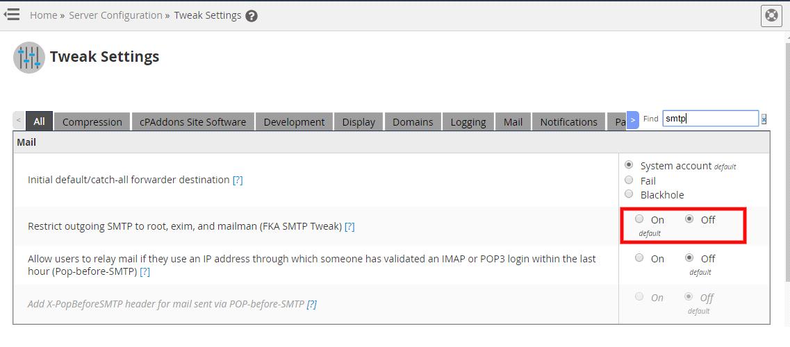 Fix SMTP Error