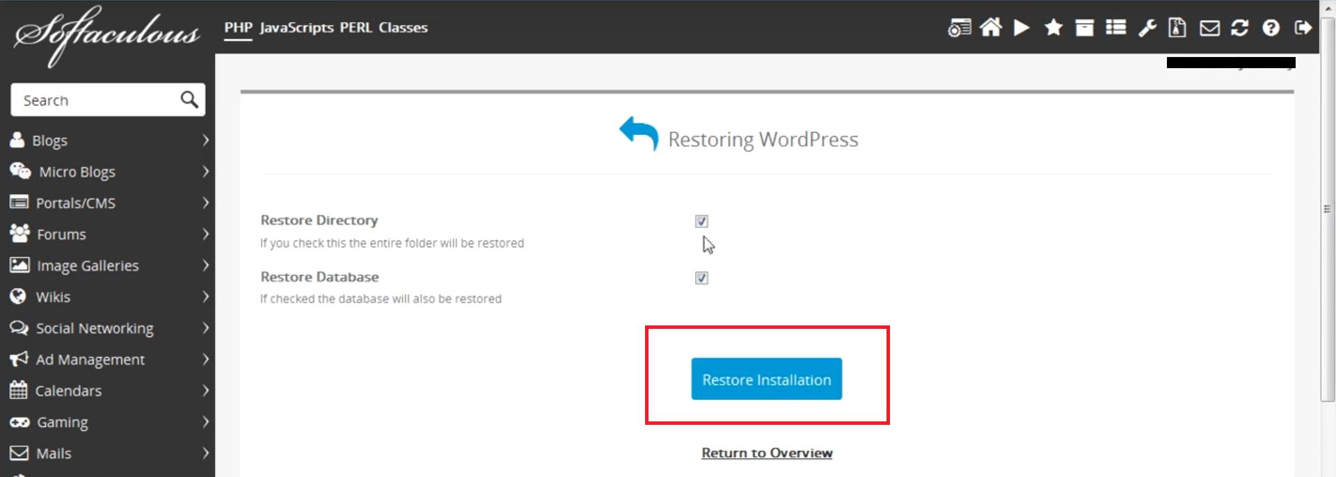 WordPress Backup Restoration from Softaculous
