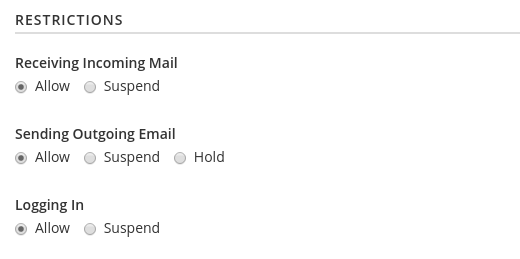 Email Accounts Suspension