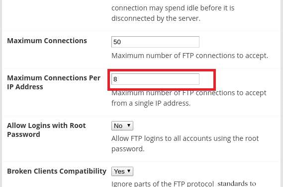 FTP max connections