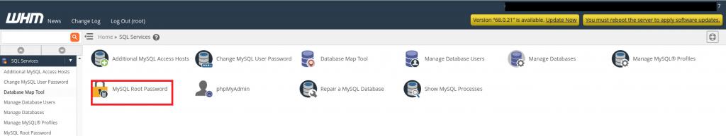 Reset MySQL password