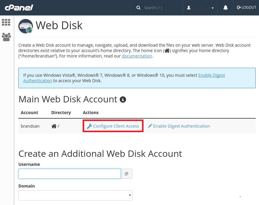 webdisk in cPanel