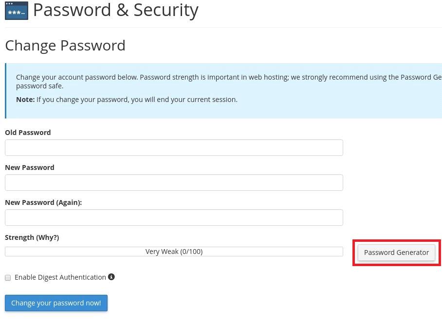 Reset cPanel password