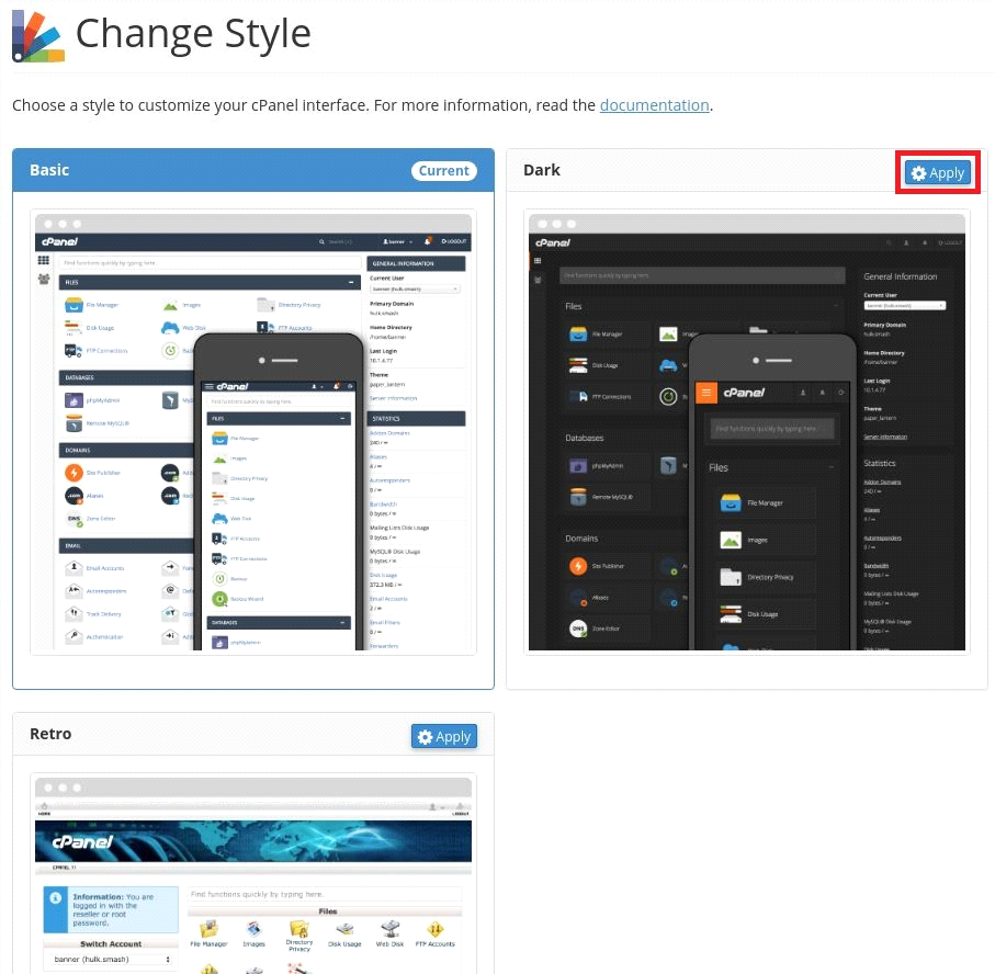 Change cPanel style