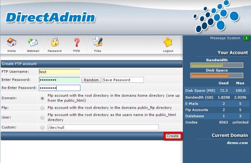4) Enter the details and click 'Create' button.