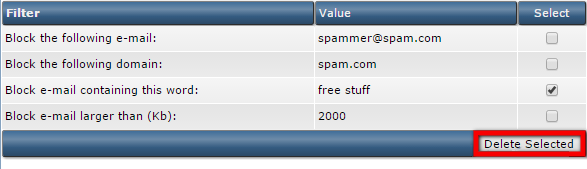 SPAM Filters in DirectAdmin