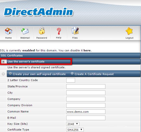 Install SSL Certificate in Direct Admin