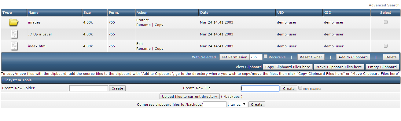 Backup Management in Direct Admin