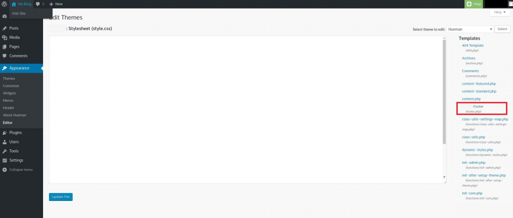 Change footer text
