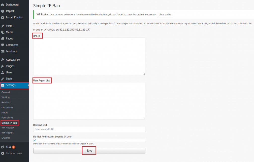 Restrict IP address
