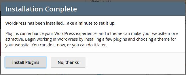Install WordPress from Plesk - Step 7