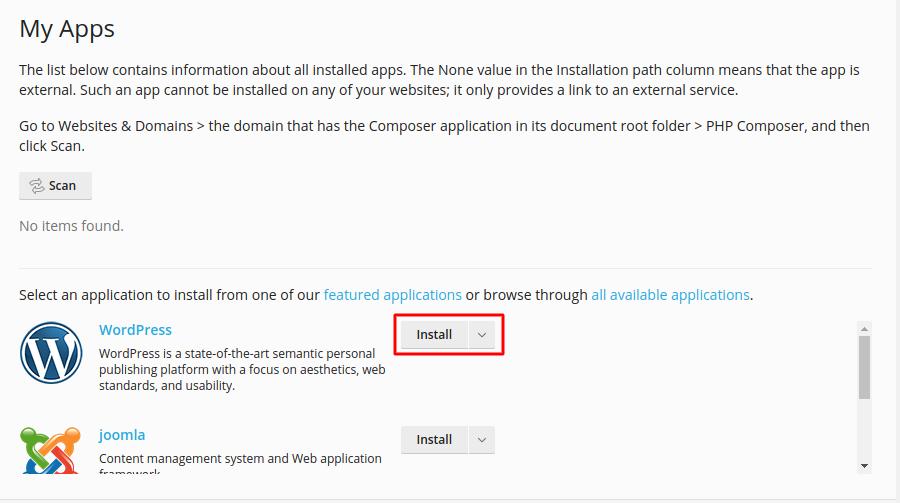 Install WordPress from Plesk - Step 5