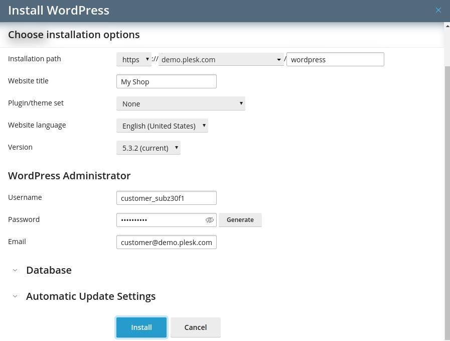 Install WordPress from plesk - Step 6