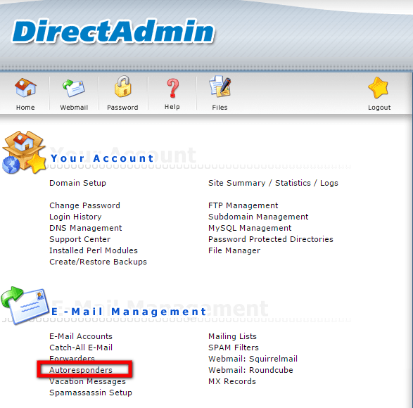 How to manage Autoresponders in DirectAdmin
