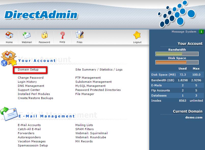 Domain Setup in DirectAdmin