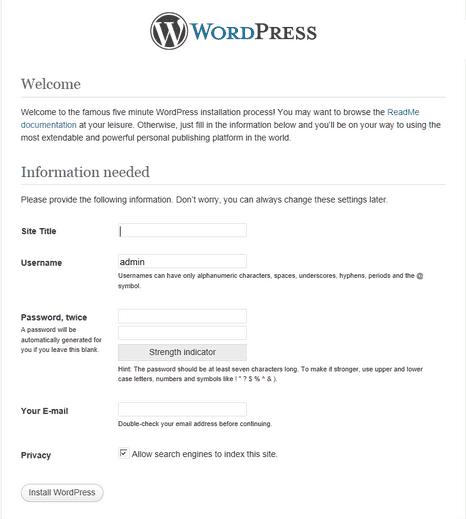 Install WordPress over SSH